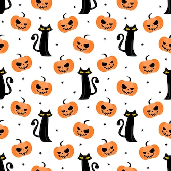 Halloween-pompoen en zwart katten naadloos patroon
