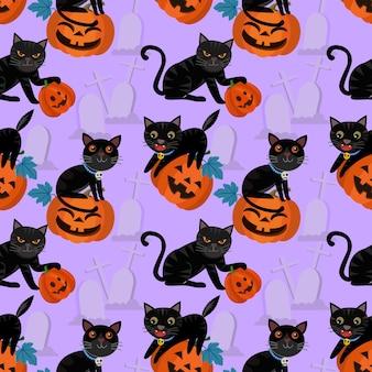 Halloween-pompoen en zwart katten naadloos patroon.