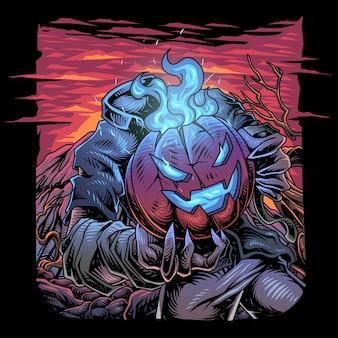 Halloween pompoen esport mascotte logo