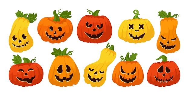 Halloween pompoen gezicht cartoon set bang smileygezichten griezelig lachend masker snuit eng spookachtig
