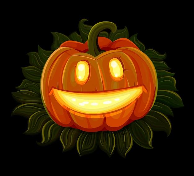 Halloween-pompoen glimlacht