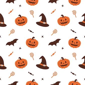 Halloween pompoen heks hoed naadloze patroon achtergrond vector met truc of treat snoep en vleermuis illustratie