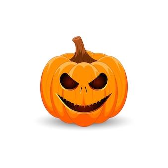 Halloween-pompoen het belangrijkste symbool van de happy halloween-vakantie enge oranje pompoen met glimlach