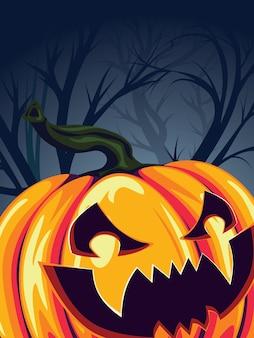 Halloween-pompoen in het bos
