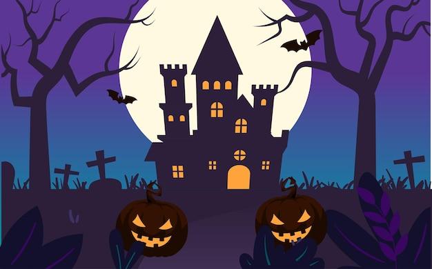 Halloween pompoen lantaarn snoep illustratie vakantie magische feest evenement poster