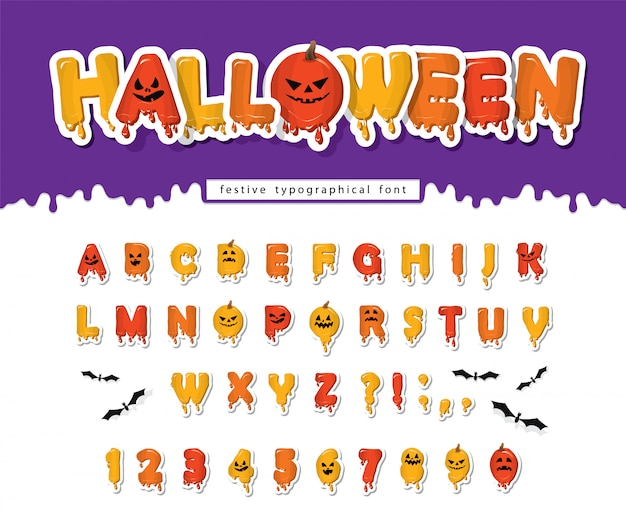 Halloween pompoen lettertype. griezelig enge gezichten alfabet.