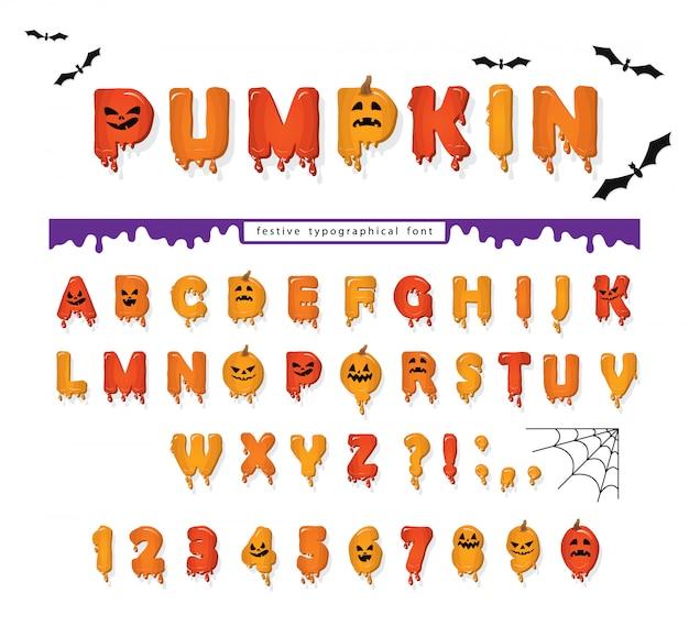 Halloween pompoen lettertype