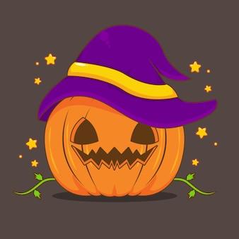 Halloween-pompoen met cartoonillustratie van de heksenhoed