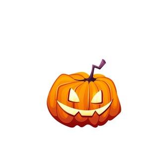 Halloween-pompoen met gelukkig eng gezicht op witte geïsoleerde achtergrond voor uw ontwerp