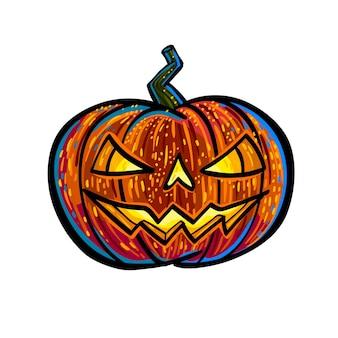 Halloween-pompoen met gesneden eng gezicht dat op wit wordt geïsoleerd