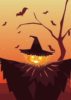 Halloween-pompoen met heksenhoed in begraafplaatsscène