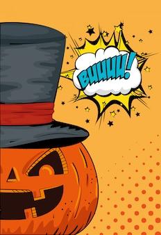 Halloween-pompoen met het pop-art van de hoedentovenaar