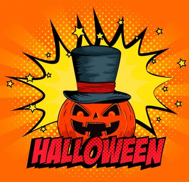 Halloween-pompoen met hoed in pop-artstijl