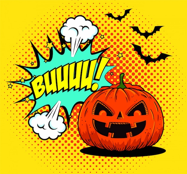 Halloween-pompoen met knuppels die in pop-artstijl vliegen