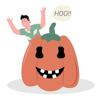 Halloween-pompoen met man zegt hoo