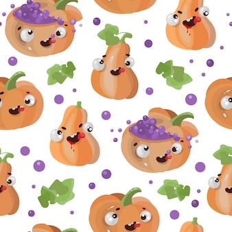 Halloween pompoen platte ontwerp naadloze patroon afdrukken