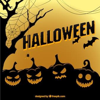 Halloween pompoen silhouetten achtergrond