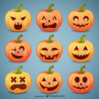 Halloween pompoen smileys pak