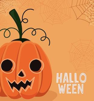 Halloween-pompoenbeeldverhaal met spinnenwebbenontwerp, vakantie en eng thema