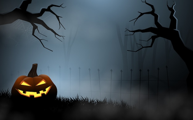 Halloween-pompoenen bij het mistige graf