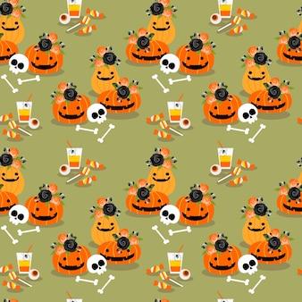 Halloween pompoenen decoratie en snoep naadloze patroon.