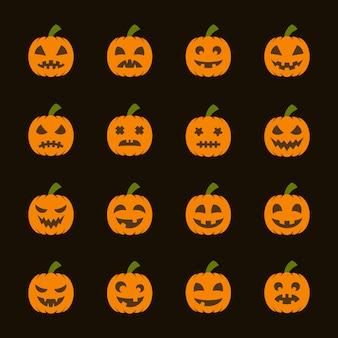 Halloween-pompoenen, een reeks gekleurde pictogrammen met verschillende emoties