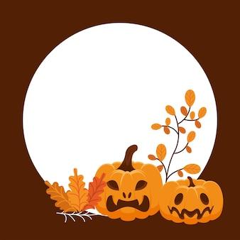 Halloween pompoenen en bladeren