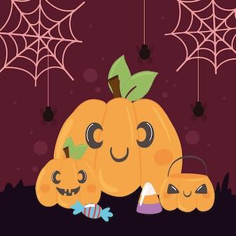 Halloween pompoenen en snoep feest