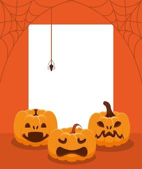 Halloween pompoenen en spinnen