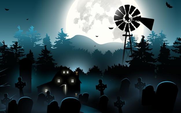 Halloween pompoenen. halloween-achtergrond bij nachtbos met maan