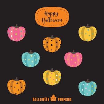 Halloween pompoenen kleurrijke pictogram set plat ontwerp vector illustratie halloween ontwerp sjabloon voor wenskaart, advertentie, promotie, poster, vlieger, blog, artikel, sociale media, marketing.