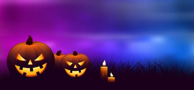 Halloween-pompoenen met kaarsen