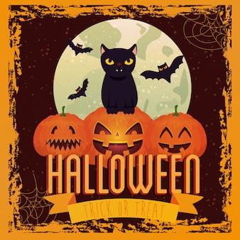 Halloween-pompoenen met kat en vleermuizen vliegen