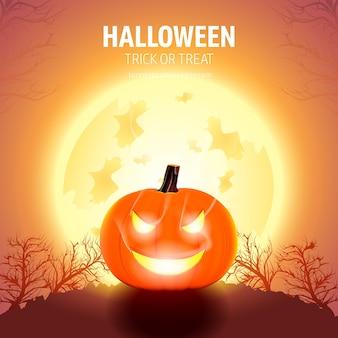 Halloween-pompoenen met maanlicht en bomen.