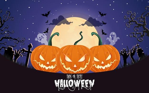 Halloween-pompoenen onder de maanlichtachtergrond