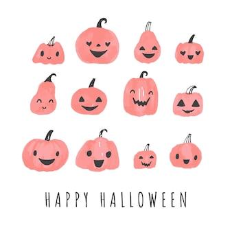 Halloween pompoenen schattige illustratie set gesneden pompoen cartoons met gezichten