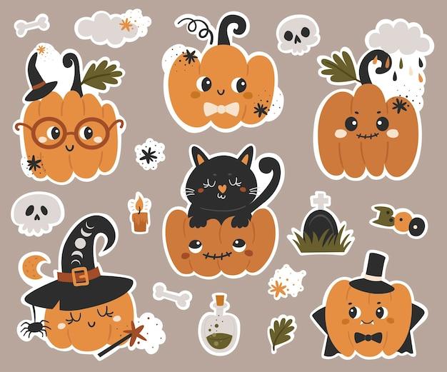 Halloween pompoenen stickers collectie. vectorillustratie voor ontwerp van planners, notebooks en meer