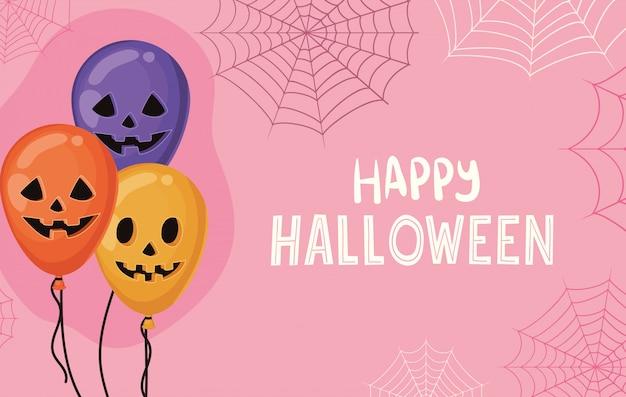 Halloween-pompoenenballons met spinnenwebbenontwerp, vakantie en eng thema