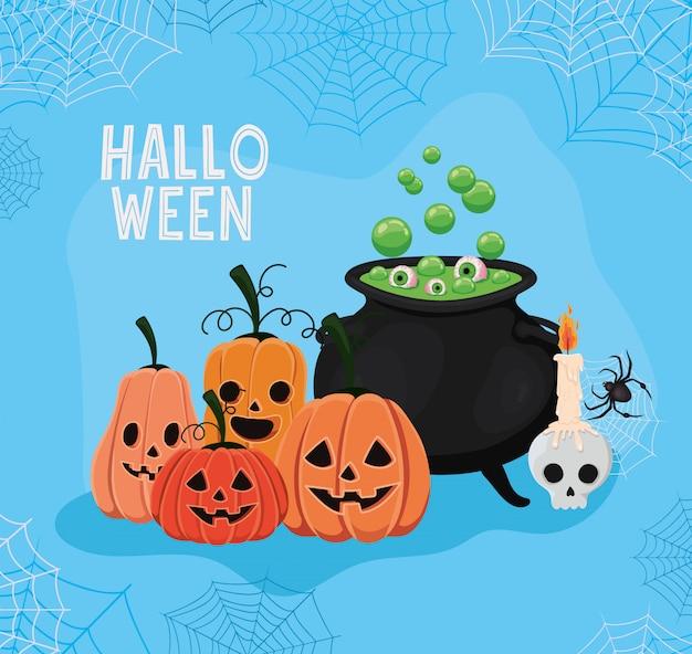 Halloween-pompoenenbeeldverhalen en heksenkom met spinnenwebbenkaderontwerp, vakantie en eng thema
