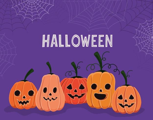 Halloween-pompoenenbeeldverhalen met spinnenwebbenontwerp, vakantie en eng thema