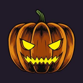 Halloween-pompoenillustratie en t-shirtontwerp