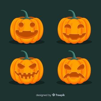 Halloween-pompoeninzameling in vlak ontwerp