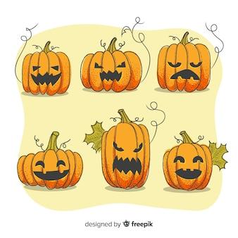 Halloween-pompoeninzameling met gezichten