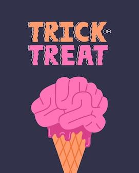 Halloween-poster met griezelig hersenijs en trick or treat-letters. eng dessertconcept en kalligrafiedrukontwerp. vectorillustratie in doodle platte cartoonstijl, vakantie blauwe achtergrond