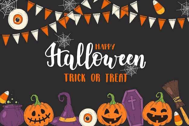 Halloween-poster met handgetekende gekleurde pompoen jack, heksenhoed, bezem, hoed, snoep, snoepwortels, kist, pot met drankje''trick or treat