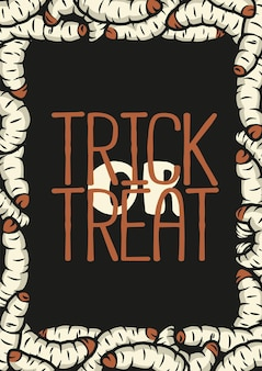 Halloween-poster met made of vervelende worm en walgelijke rups voor halloween-ontwerp