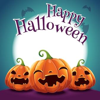 Halloween-poster met realistische pompoenen op donkerblauwe achtergrond met gloeiende volle maan en met vleermuizen. vectorillustratie voor posters, banners, uitnodigingen, reclame, flyers.