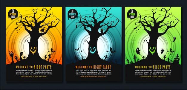 Halloween poster sjabloon set