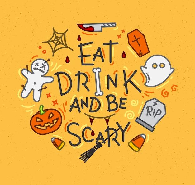 Halloween-poster vlakke mosterd