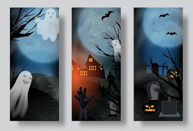 Halloween-posters of spandoeken, kerkhof met spook en zombiehand instellen.